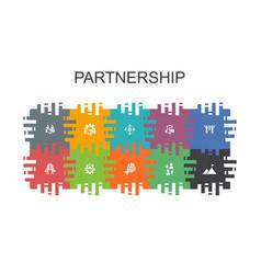 Partnership cartoon template with flat elements vector