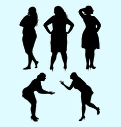 Plus size woman silhouette 05 vector