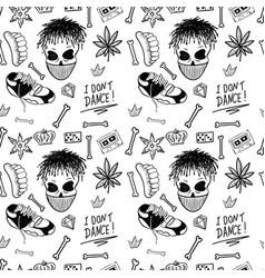 Rap music hip hop doodle pattern with rap vector
