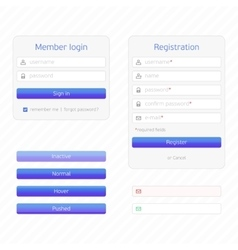 Registration form and login vector