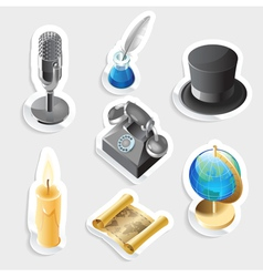 Retro sticker icon set vector
