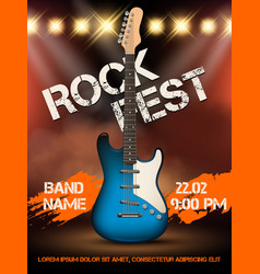 rock festival invitation music guitar realistic vector image