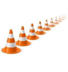 Row traffic cones vector