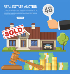 Sale real estate at auction vector