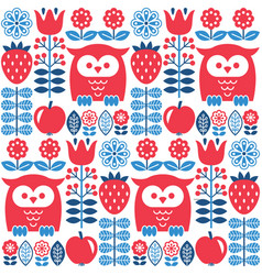 Scandinavian seamless cute pattern with owl vector