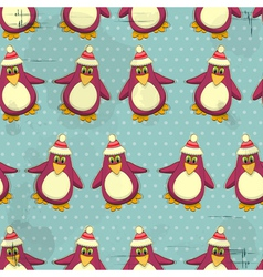 seamless christmas penguin pattern vector image