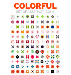 Set colorful geometrical abstract icons vector