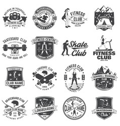 Set of fitness and skate board club concept with vector