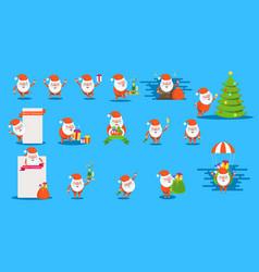 set of funny happy santa claus character vector image