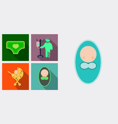 Set of medecine icons patient with dropper baby vector