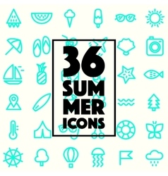 Set trendy linear style summer holiday icon vector