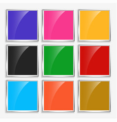 shiny glossy square buttons with metal frame vector image