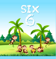 Six monkey in nature vector