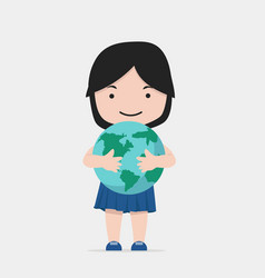 small girl hugs the earth vector image
