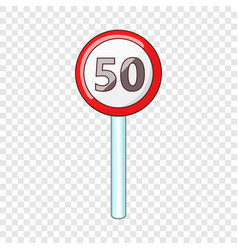 Speed limit fifty road sign icon cartoon style vector