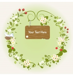 Spring Flowers Bird Vintage Love Romantic Wreath vector image