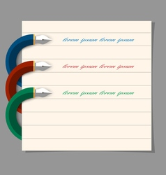 Stylized colored writing pen design for vector
