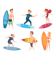 surf characters design summer mascots vector image