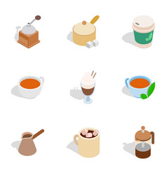 Tea and coffee icons isometric 3d style vector