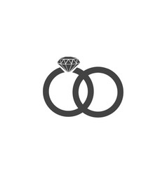 two bonded wedding rings marriage icon diamond vector image
