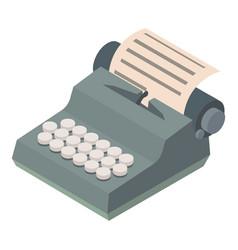 Typewriter icon isometric 3d style vector