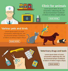 vet clinic care banner horizontal set flat style vector image