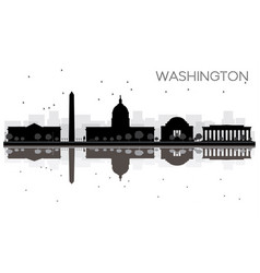 Washington dc city skyline black and white vector