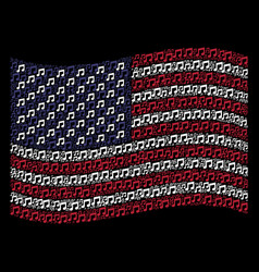 Waving usa flag stylization music notes icons vector