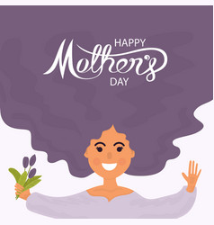 woman face with long hairhappy mothers day vector image