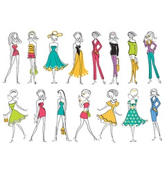 Women in modern fashion clothes isolated on white vector image