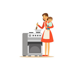 Flat super mom cooking character with child vector