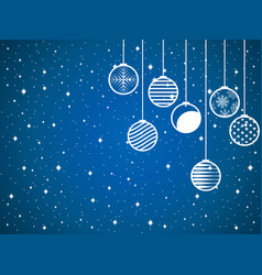hanging christmas balls on a snowy background vector image