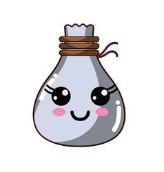 Kawaii cute happy cloth bag vector