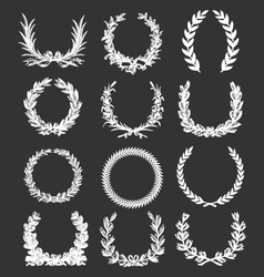 laurel and wreath set elements vector image vector image