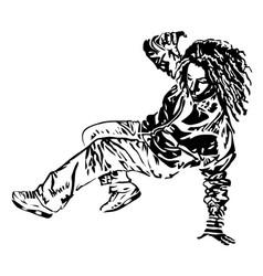 Raper dancer on white background extreme theme vector