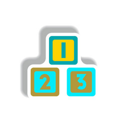 Stylish icon in paper sticker style cubes toys vector