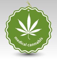 cannabis marijuana leaf stamp tag label vector image vector image