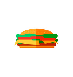Color burger in flat style vector