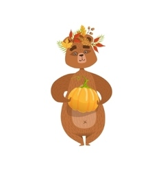 Girly Cartoon Brown Bear Character Holding Pumpkin vector image vector image