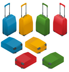 travel suitcases flat isometric vector image