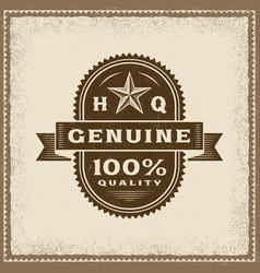 vintage genuine 100 percent quality label vector image vector image