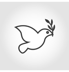 white dove icon on grey background vector image vector image