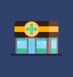 facade of pharmacy pharmacy store icon flat vector image
