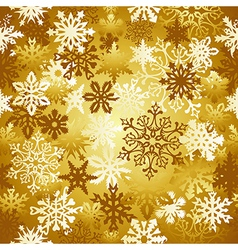Gold christmas snowflakes pattern vector