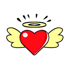 red heart with wings and halo comic vector image