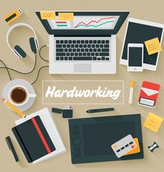 Trendy flat design hardworking vector