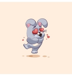 isolated Emoji character cartoon Gray leveret in vector image