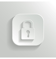 Lock icon - white app button vector image vector image