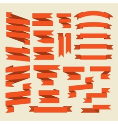 Orange ribbons set isolated on white vector image