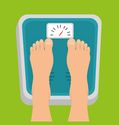 Pregnant women feet standing on weight scale vector
